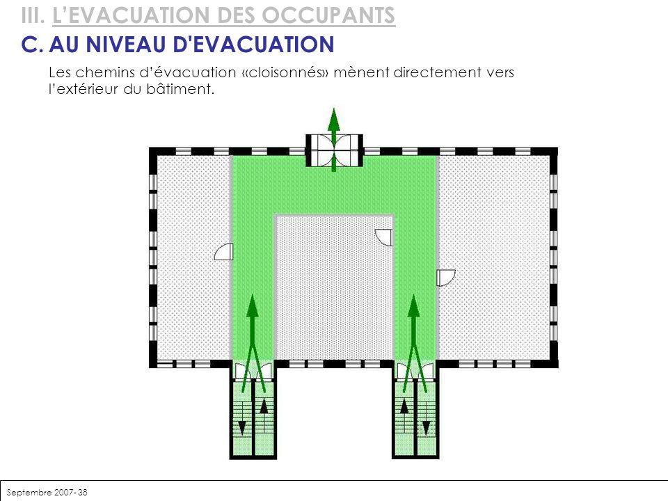 Septembre 2007- 38 III. LEVACUATION DES OCCUPANTS C.AU NIVEAU D'EVACUATION Les chemins dévacuation «cloisonnés» mènent directement vers lextérieur du