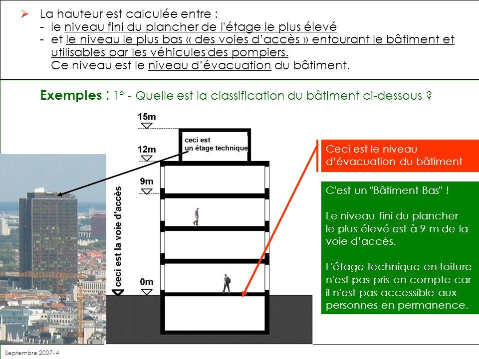 Septembre 2007- 4 La hauteur est calculée entre : -le niveau fini du plancher de l'étage le plus élevé -et le niveau le plus bas « des voies daccès »