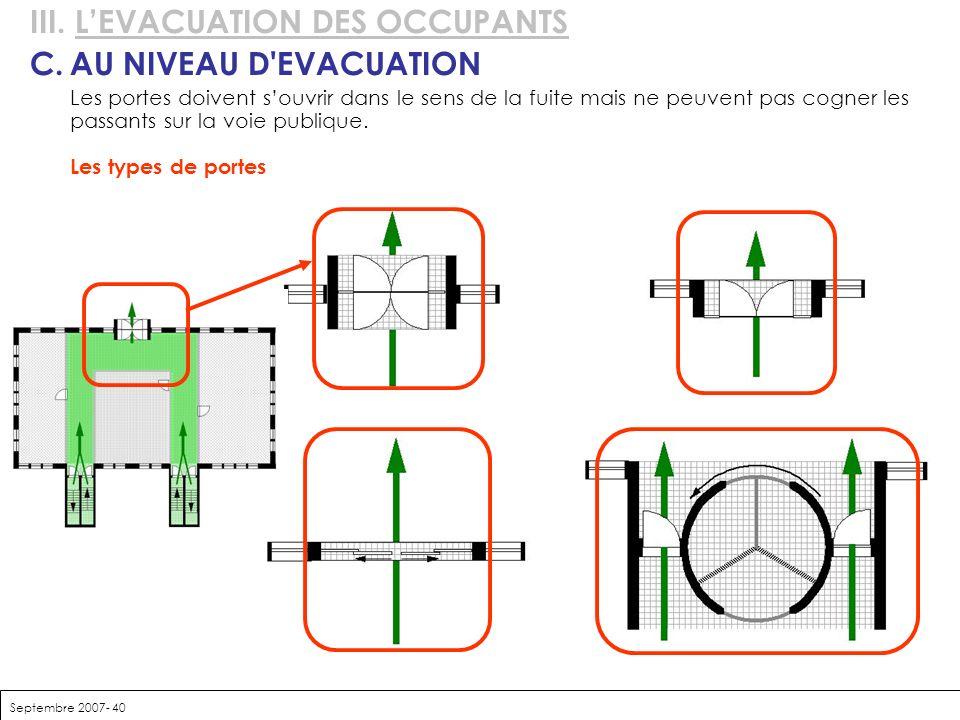 Septembre 2007- 40 III. LEVACUATION DES OCCUPANTS C.AU NIVEAU D'EVACUATION Les portes doivent souvrir dans le sens de la fuite mais ne peuvent pas cog