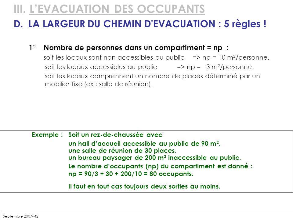 Septembre 2007- 42 III. LEVACUATION DES OCCUPANTS D.LA LARGEUR DU CHEMIN D'EVACUATION : 5 règles ! 1°Nombre de personnes dans un compartiment = np : s