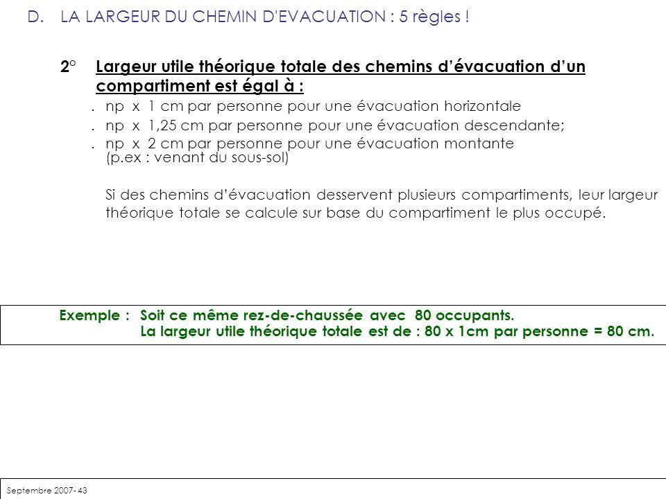 Septembre 2007- 43 D.LA LARGEUR DU CHEMIN D'EVACUATION : 5 règles ! 2° Largeur utile théorique totale des chemins dévacuation dun compartiment est éga