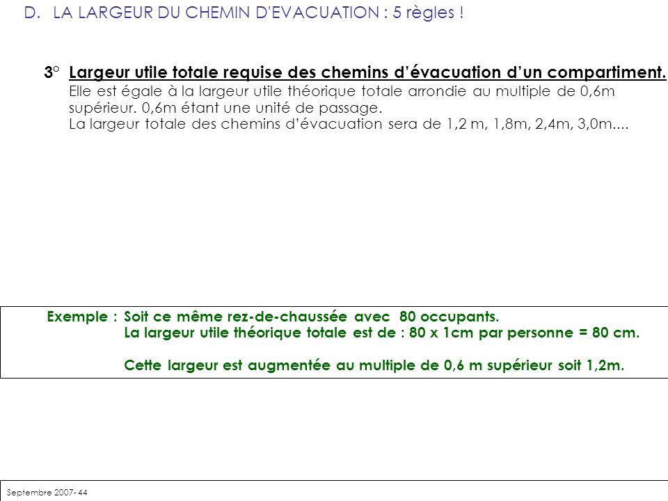 Septembre 2007- 44 D. LA LARGEUR DU CHEMIN D'EVACUATION : 5 règles ! 3° Largeur utile totale requise des chemins dévacuation dun compartiment. Elle es
