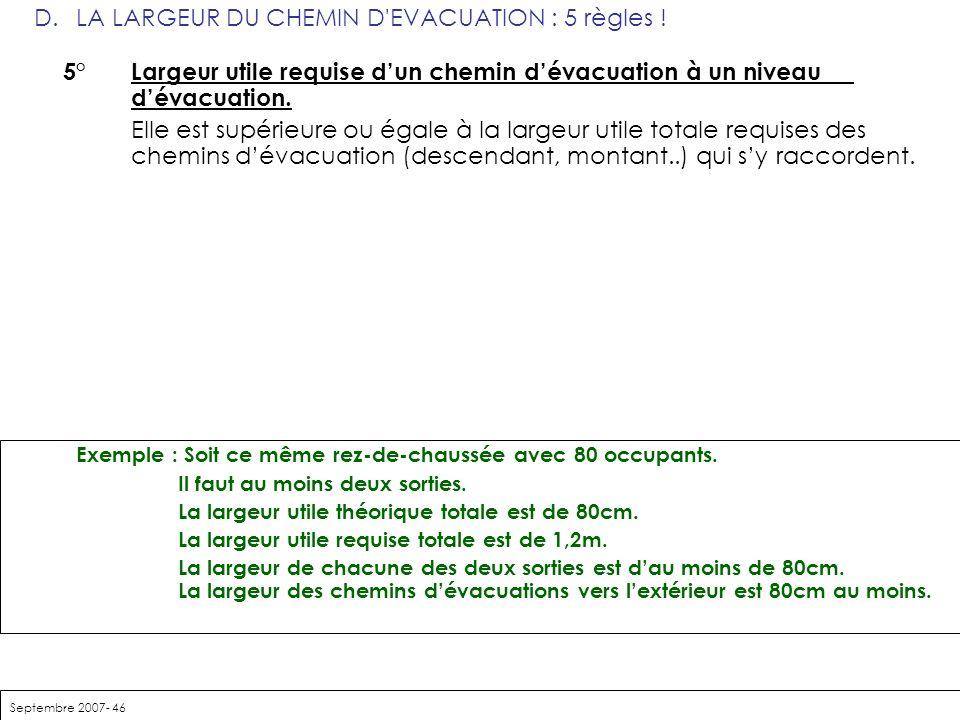 Septembre 2007- 46 D. LA LARGEUR DU CHEMIN D'EVACUATION : 5 règles ! 5° Largeur utile requise dun chemin dévacuation à un niveau dévacuation. Elle est