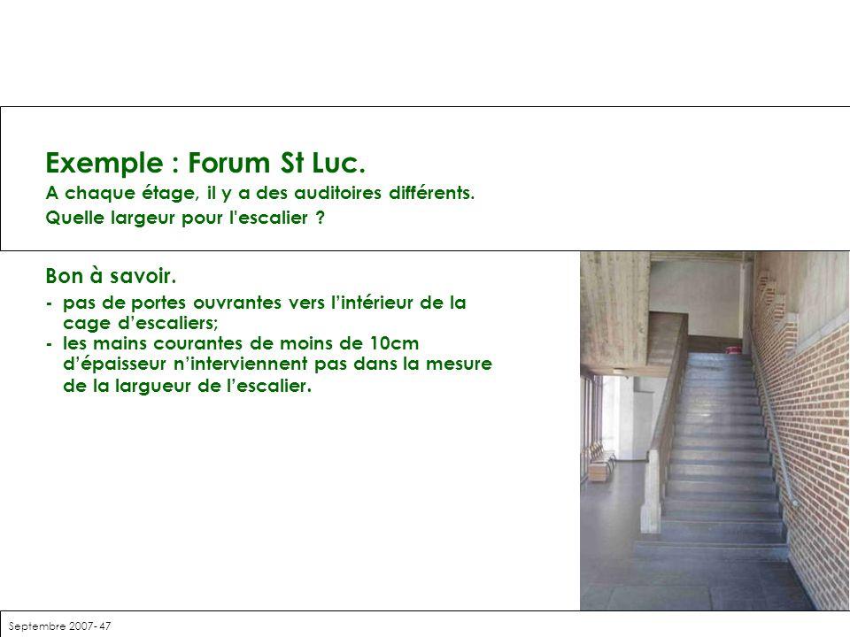 Septembre 2007- 47 Exemple : Forum St Luc. A chaque étage, il y a des auditoires différents. Quelle largeur pour l'escalier ? Bon à savoir. -pas de po