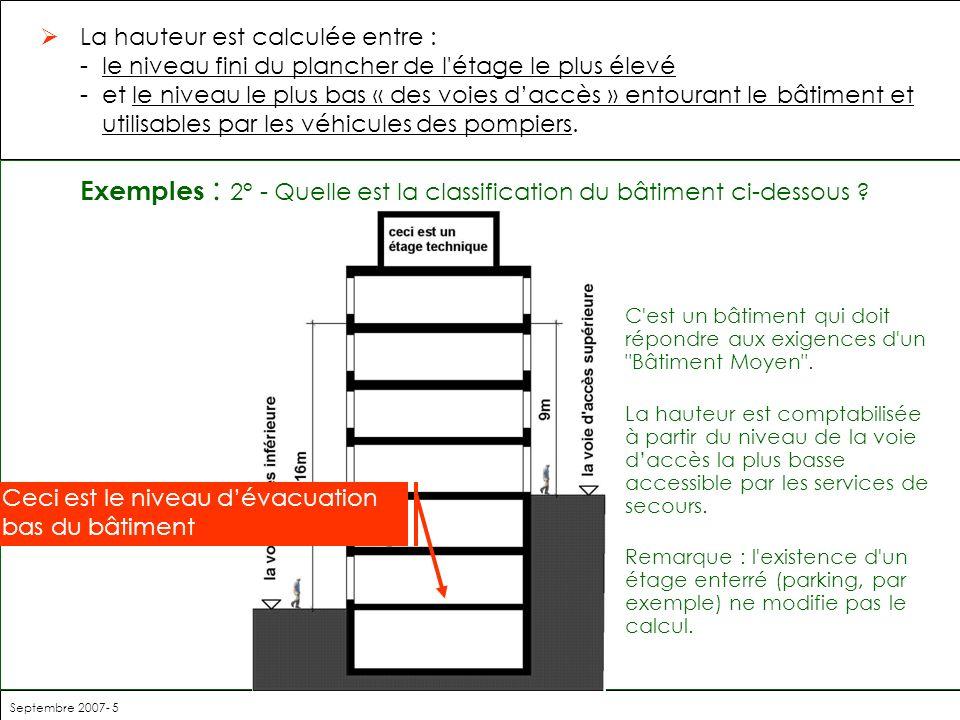 Septembre 2007- 5 Exemples : 2° - Quelle est la classification du bâtiment ci-dessous ? C'est un bâtiment qui doit répondre aux exigences d'un