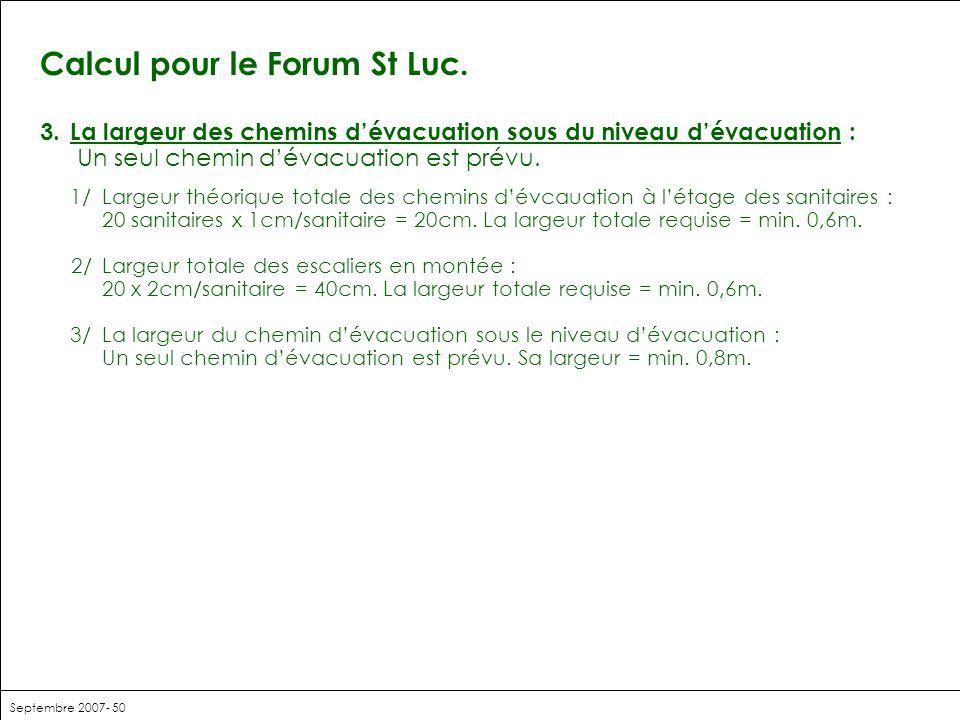 Septembre 2007- 50 Calcul pour le Forum St Luc. 3.La largeur des chemins dévacuation sous du niveau dévacuation : Un seul chemin dévacuation est prévu