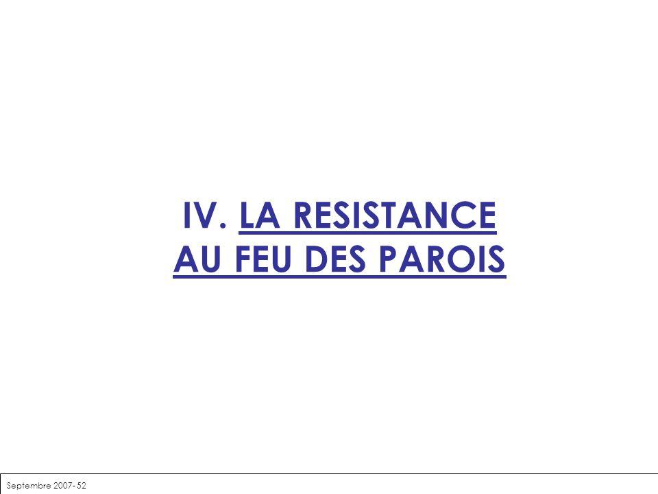 Septembre 2007- 52 IV. LA RESISTANCE AU FEU DES PAROIS
