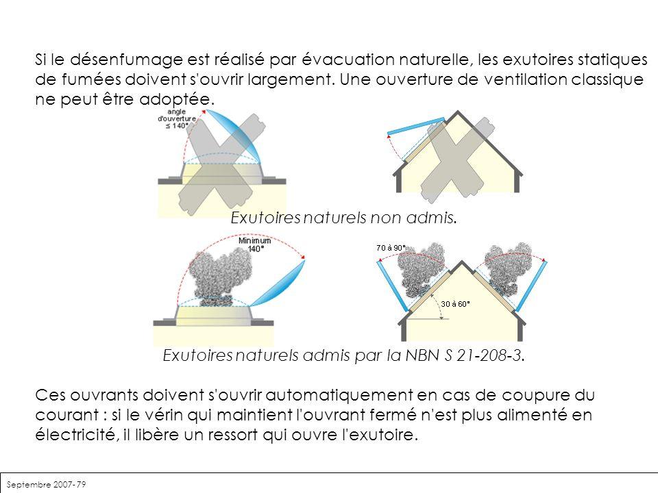 Septembre 2007- 79 Si le désenfumage est réalisé par évacuation naturelle, les exutoires statiques de fumées doivent s'ouvrir largement. Une ouverture