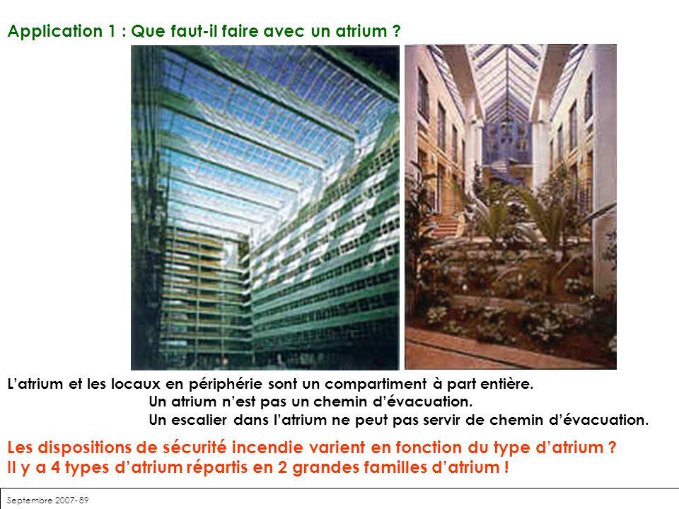 Septembre 2007- 89 Application 1 : Que faut-il faire avec un atrium ? Latrium et les locaux en périphérie sont un compartiment à part entière. Un atri