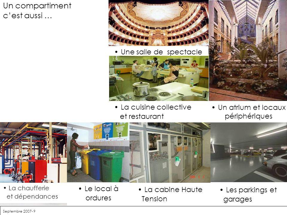 Septembre 2007- 9 Un compartiment cest aussi … Une salle de spectacle La cuisine collective et restaurant Un atrium et locaux périphériques Les parkin