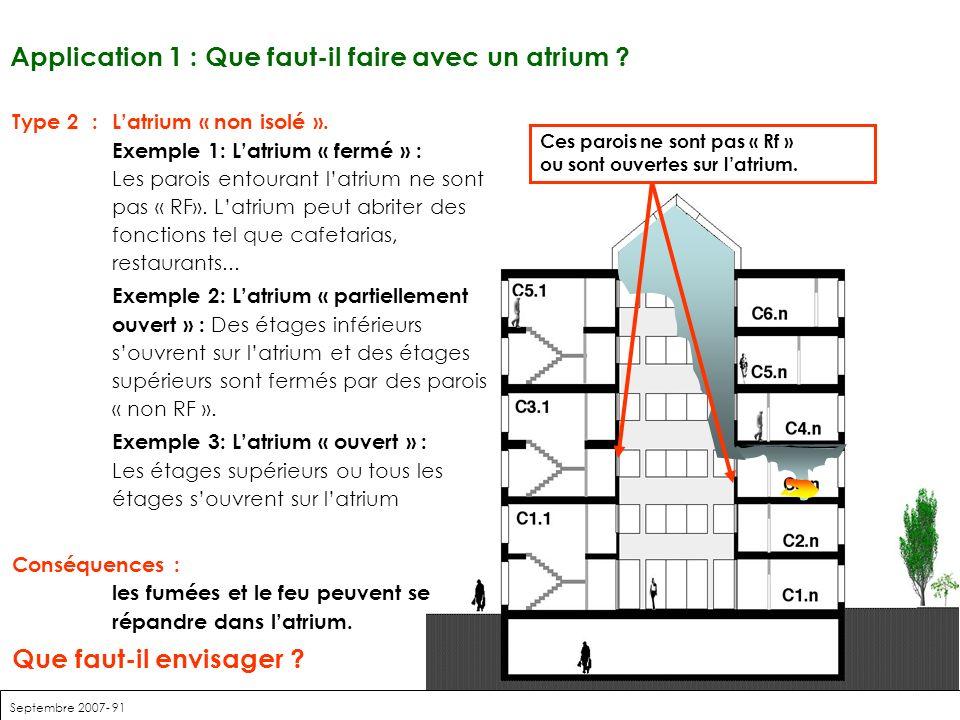 Septembre 2007- 91 Application 1 : Que faut-il faire avec un atrium ? Type 2:Latrium « non isolé ». Exemple 1: Latrium « fermé » : Les parois entouran