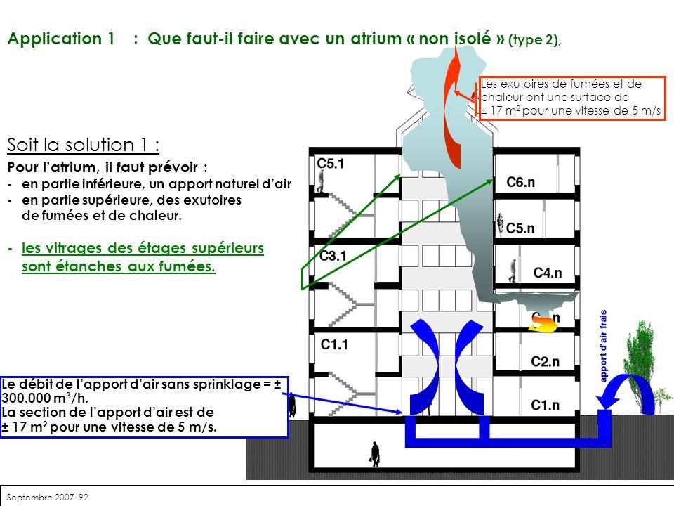 Septembre 2007- 92 Soit la solution 1 : Pour latrium, il faut prévoir : -en partie inférieure, un apport naturel dair -en partie supérieure, des exuto
