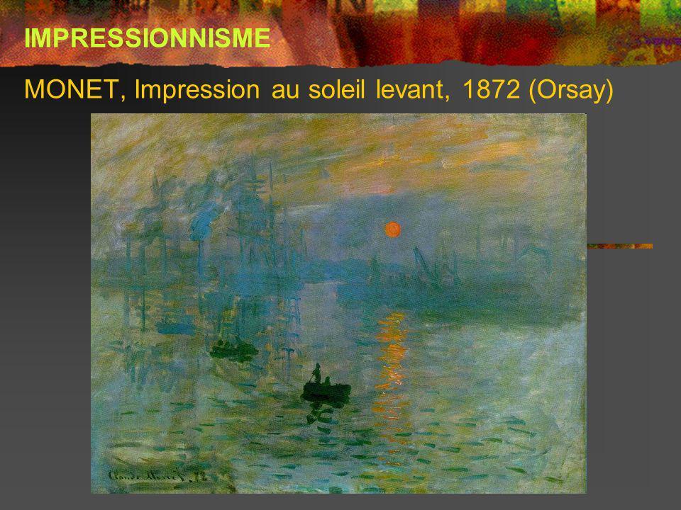 MONET, Impression au soleil levant, 1872 (Orsay) IMPRESSIONNISME
