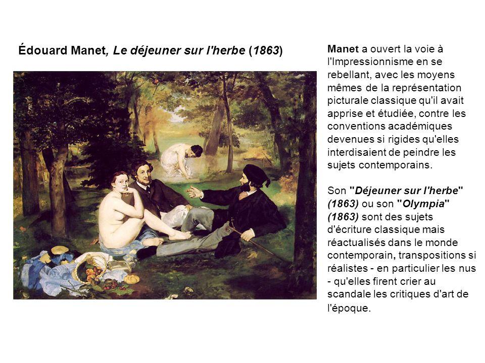Claude Monet, Impression, soleil levant (1873) La première exposition des impressionnistes eut lieu en avril 1874, boulevard des Capucines, [à Paris] dans un appartement prêté par le photographe Nadar, avec 31 participants, le tableau intitulé Impression, soleil levant (1872-73) de Monet devant donner son nom au mouvement.