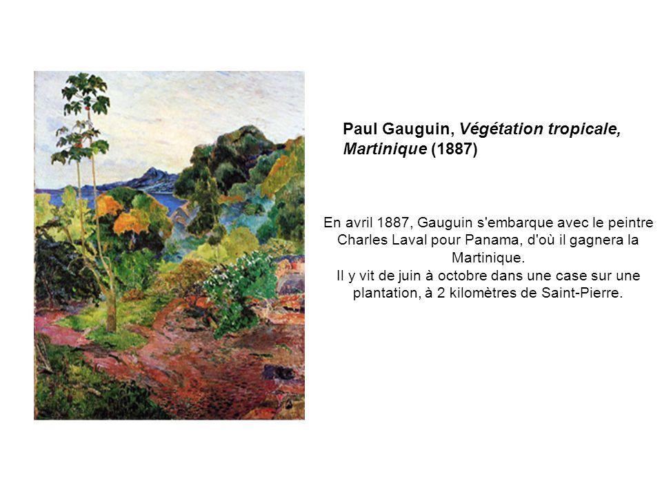 En avril 1887, Gauguin s'embarque avec le peintre Charles Laval pour Panama, d'où il gagnera la Martinique. Il y vit de juin à octobre dans une case s