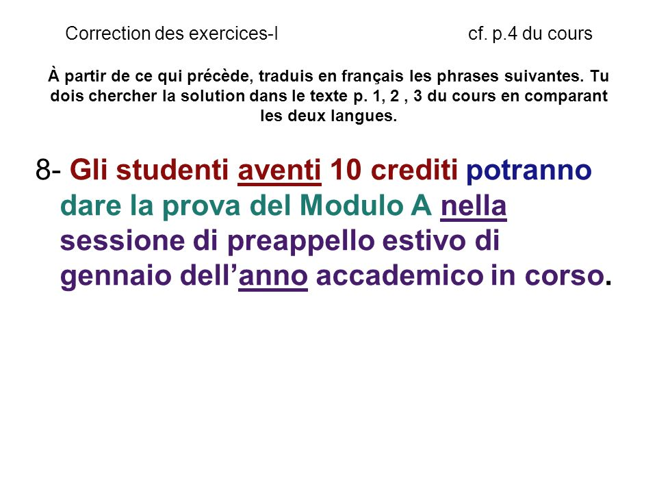 Correction des exercices-I cf.