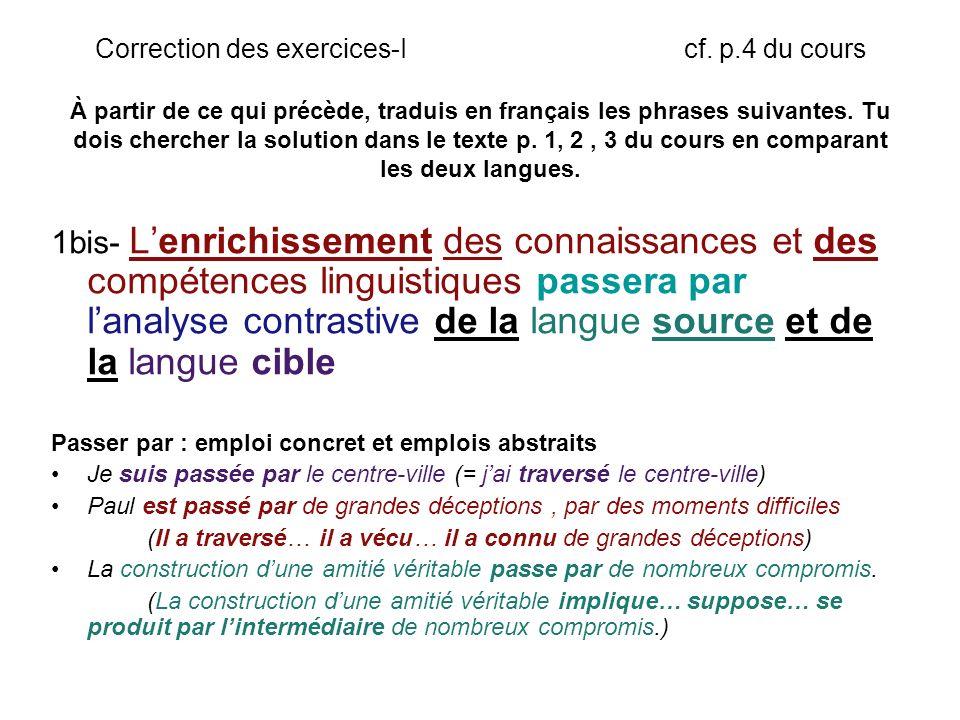 Correction des exercices-I cf.p.4 du cours fra, tra entre ou parmi.