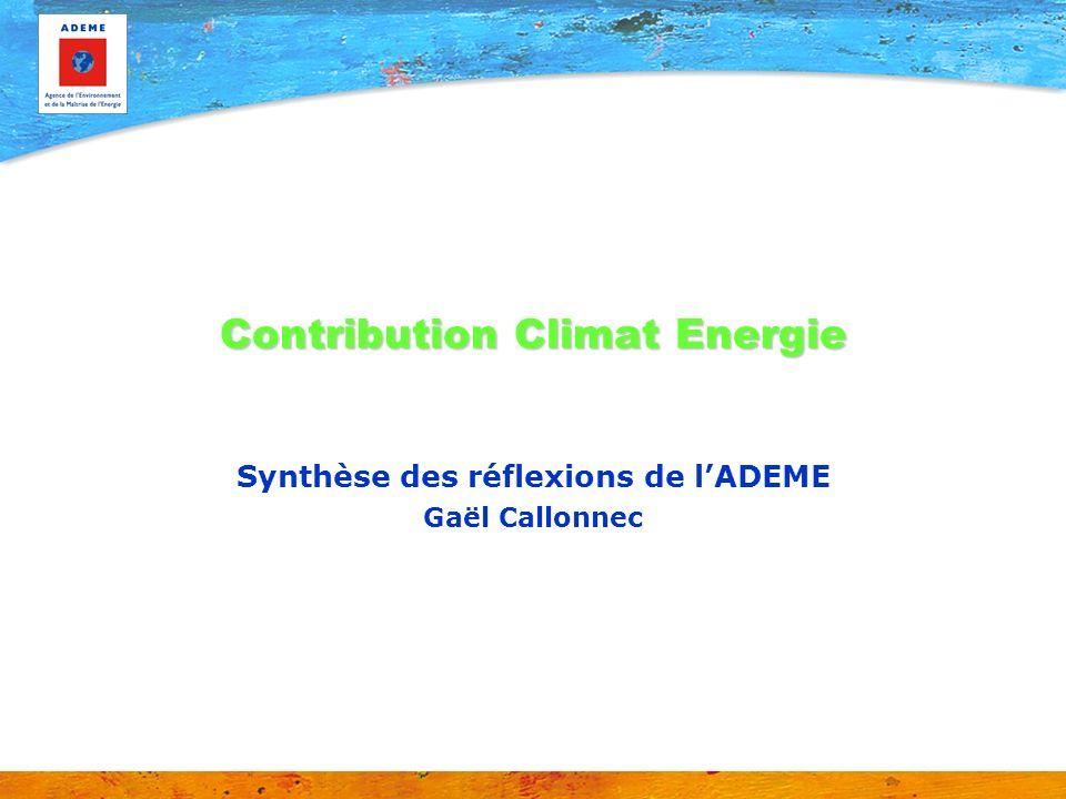 Contribution Climat Energie Synthèse des réflexions de lADEME Gaël Callonnec