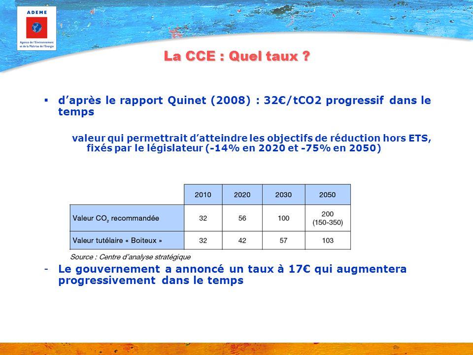 La CCE : Quel taux ? daprès le rapport Quinet (2008) : 32/tCO2 progressif dans le temps valeur qui permettrait datteindre les objectifs de réduction h