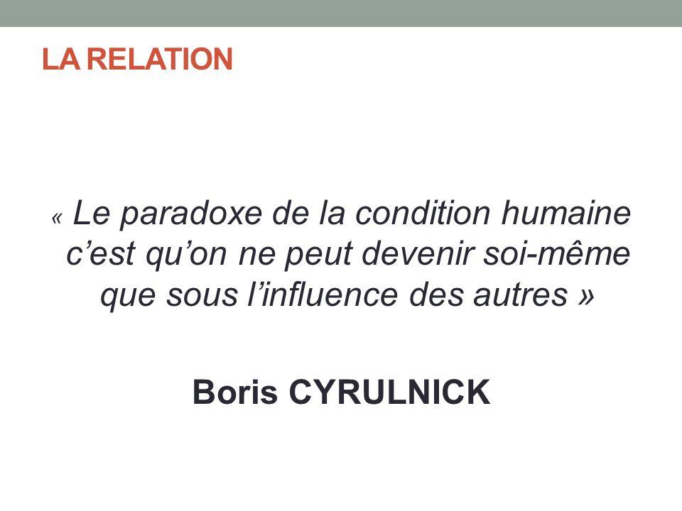 LA RELATION « Le paradoxe de la condition humaine cest quon ne peut devenir soi-même que sous linfluence des autres » Boris CYRULNICK