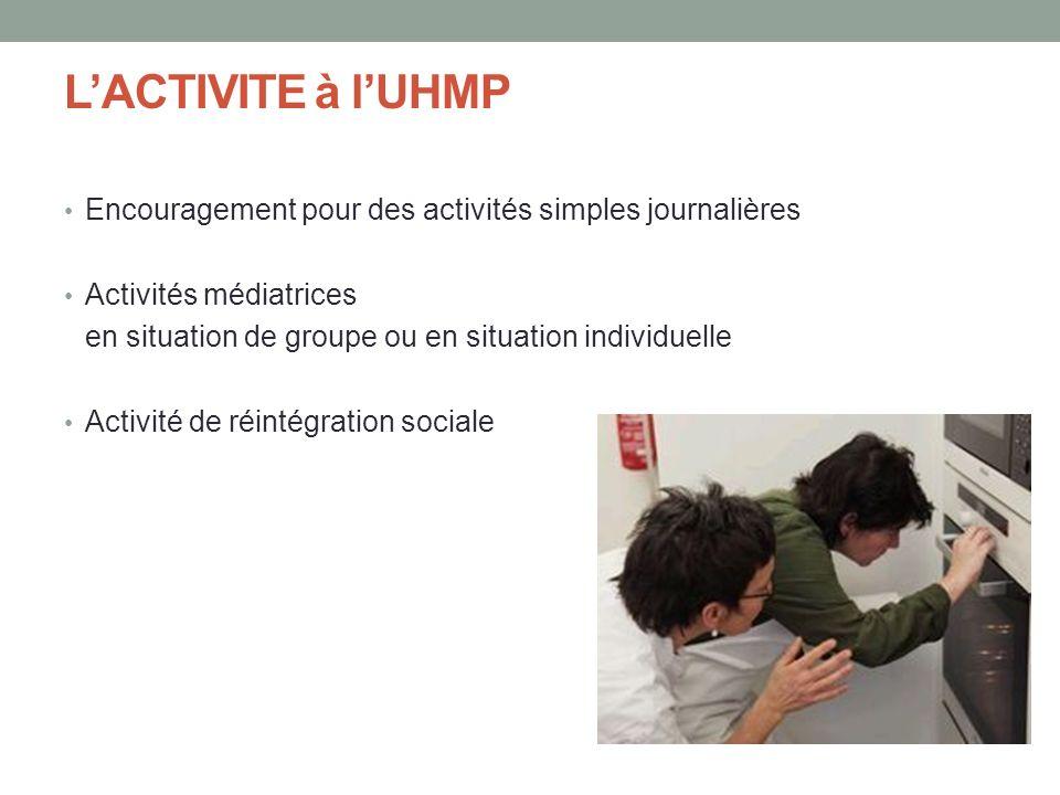 LACTIVITE à lUHMP Encouragement pour des activités simples journalières Activités médiatrices en situation de groupe ou en situation individuelle Acti