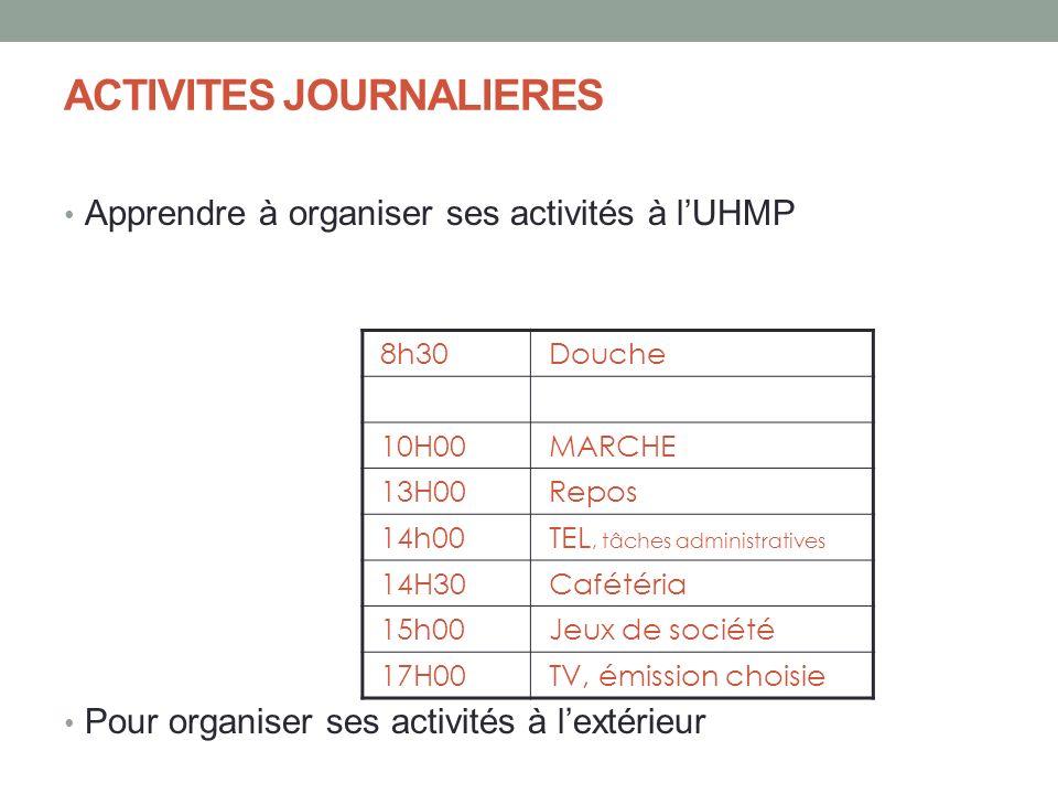 ACTIVITES JOURNALIERES Apprendre à organiser ses activités à lUHMP Pour organiser ses activités à lextérieur 8h30Douche 10H00MARCHE 13H00Repos 14h00TE