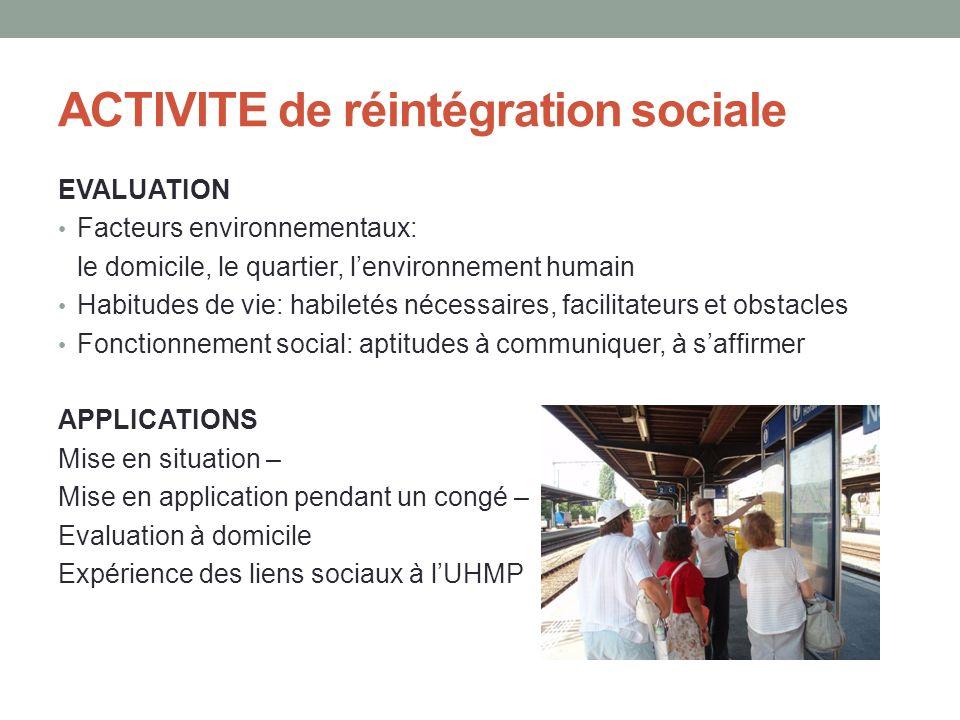 ACTIVITE de réintégration sociale EVALUATION Facteurs environnementaux: le domicile, le quartier, lenvironnement humain Habitudes de vie: habiletés né