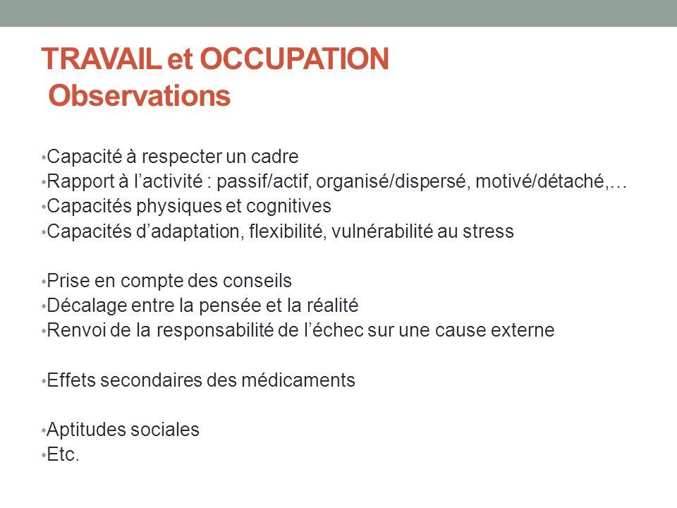 TRAVAIL et OCCUPATION Observations Capacité à respecter un cadre Rapport à lactivité : passif/actif, organisé/dispersé, motivé/détaché,… Capacités phy