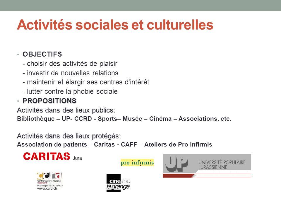 Activités sociales et culturelles OBJECTIFS - choisir des activités de plaisir - investir de nouvelles relations - maintenir et élargir ses centres di