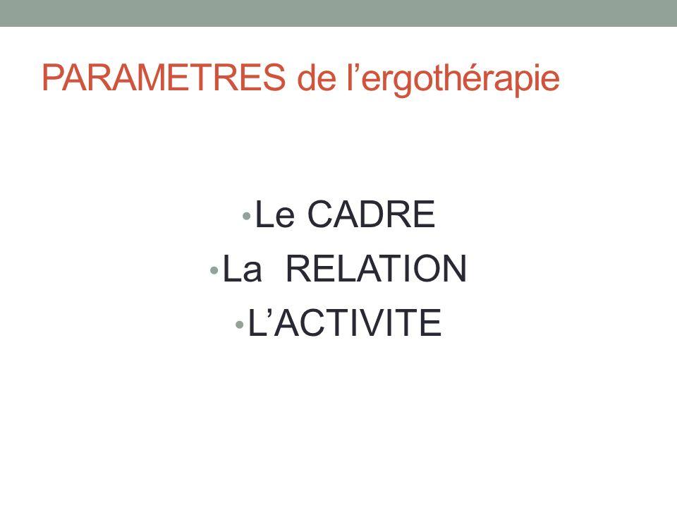 PARAMETRES de lergothérapie Le CADRE La RELATION LACTIVITE