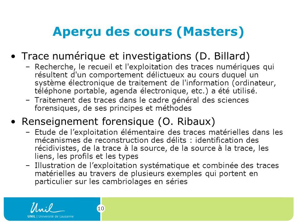 10 Aperçu des cours (Masters) Trace numérique et investigations (D.