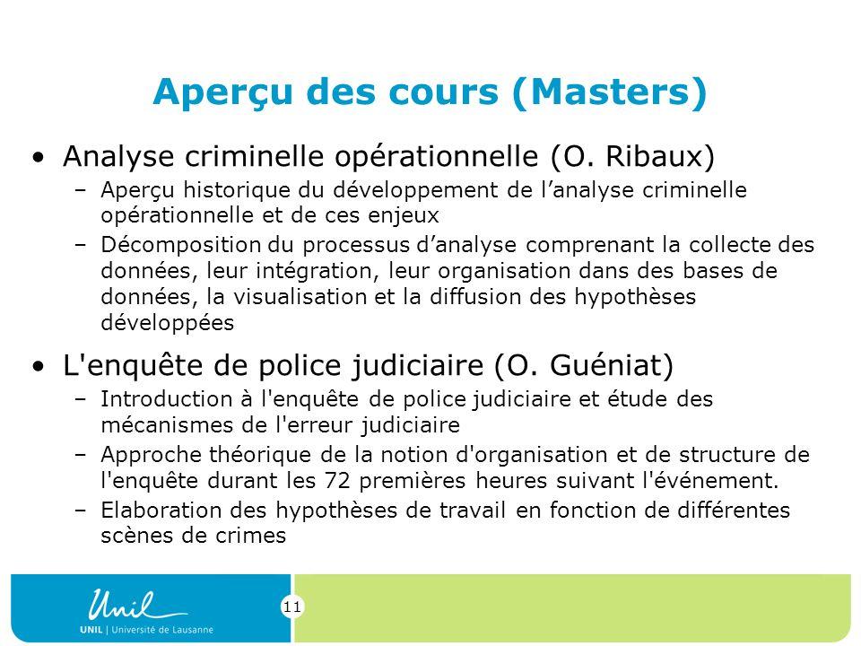 11 Aperçu des cours (Masters) Analyse criminelle opérationnelle (O.