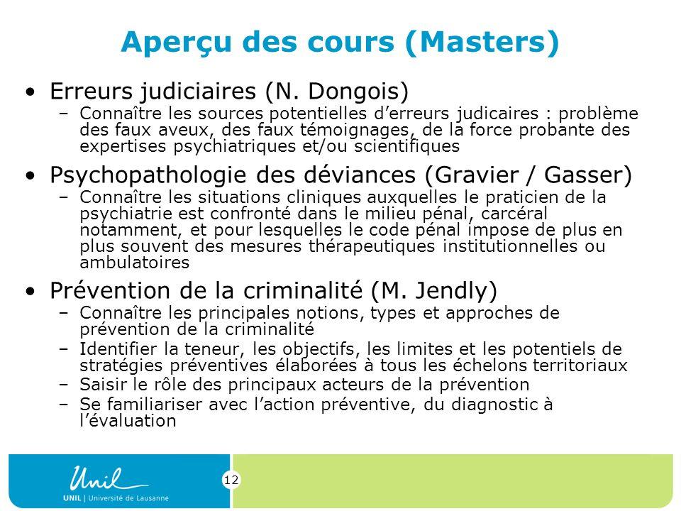 12 Aperçu des cours (Masters) Erreurs judiciaires (N.