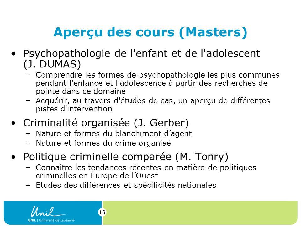 13 Aperçu des cours (Masters) Psychopathologie de l enfant et de l adolescent (J.