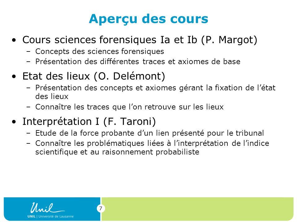 7 Aperçu des cours Cours sciences forensiques Ia et Ib (P.