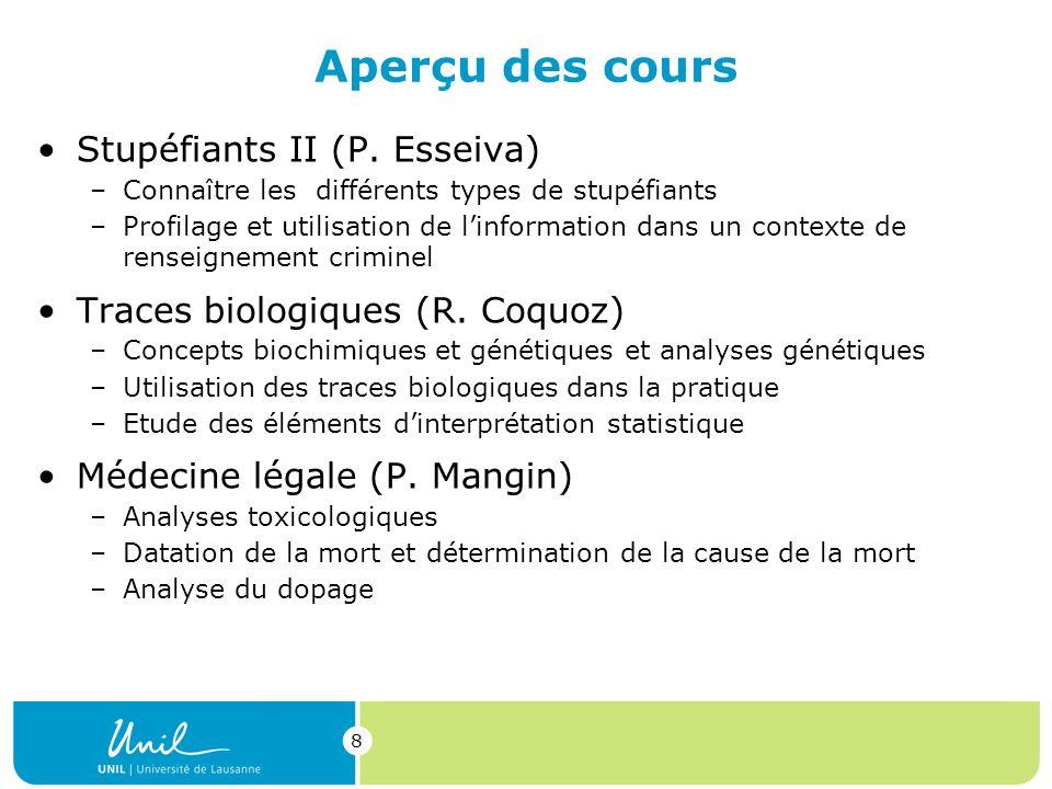8 Aperçu des cours Stupéfiants II (P.