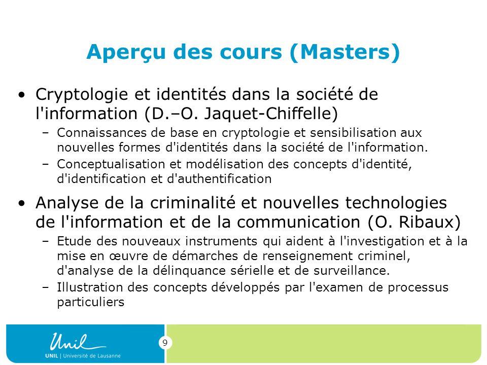 9 Aperçu des cours (Masters) Cryptologie et identités dans la société de l information (D.–O.