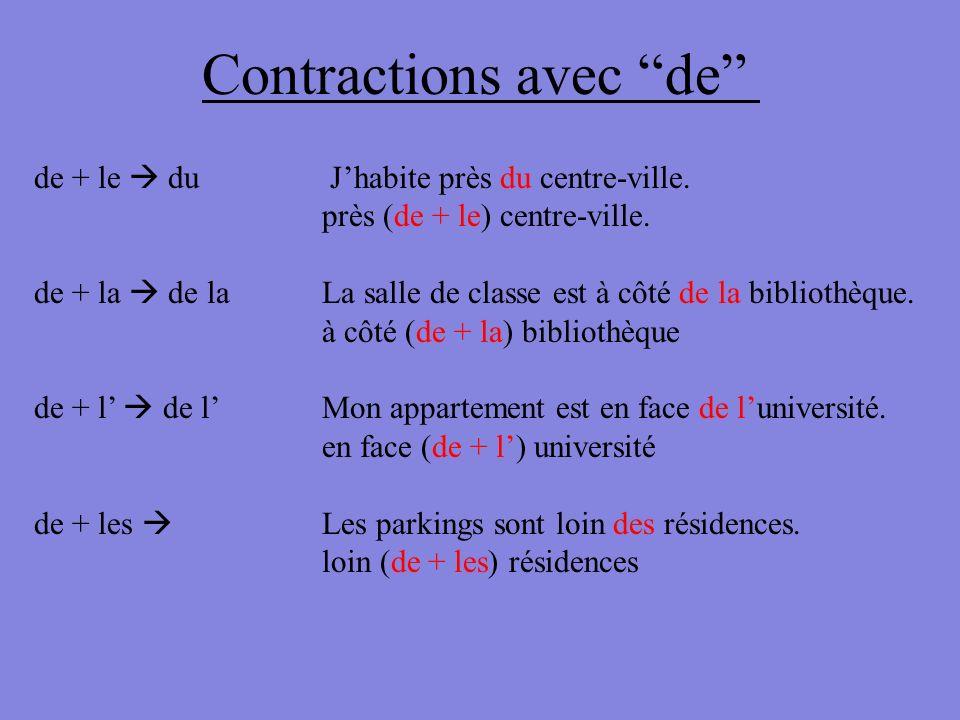 Contractions avec de de + le du Jhabite près du centre-ville. près (de + le) centre-ville. de + la de la La salle de classe est à côté de la bibliothè