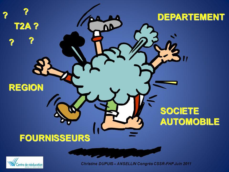 Christine DUPUIS – ANSELLIN Congrès CSSR-FHP Juin 2011 REGION DEPARTEMENT SOCIETE AUTOMOBILE FOURNISSEURS T2A ? ? ? ? ?