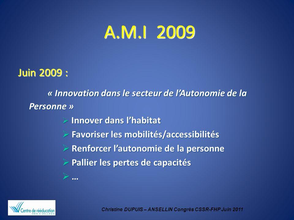 Christine DUPUIS – ANSELLIN Congrès CSSR-FHP Juin 2011 A.M.I 2009 A.M.I 2009 Juin 2009 : « Innovation dans le secteur de lAutonomie de la Personne » «