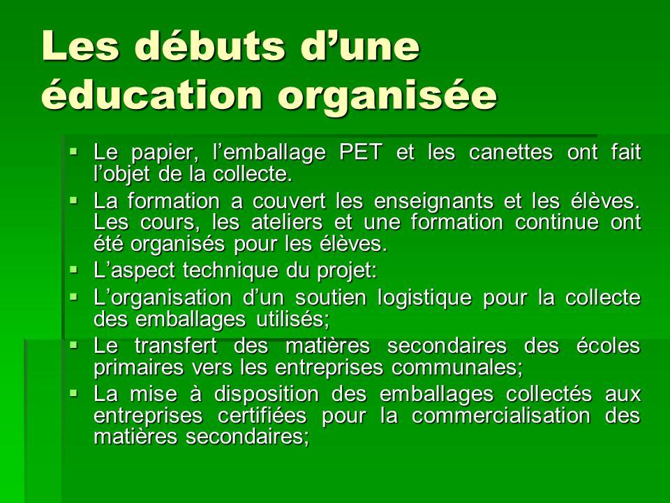 Les débuts dune éducation organisée Le papier, lemballage PET et les canettes ont fait lobjet de la collecte. Le papier, lemballage PET et les canette