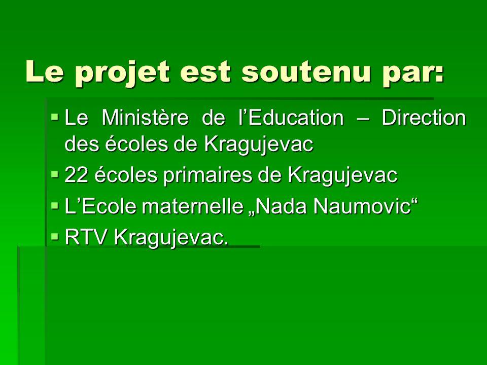 Le projet est soutenu par: Le Ministère de lEducation – Direction des écoles de Kragujevac Le Ministère de lEducation – Direction des écoles de Kraguj