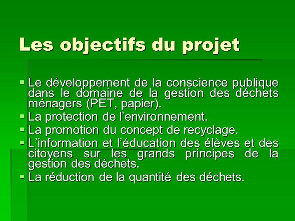 Les objectifs du projet Le développement de la conscience publique dans le domaine de la gestion des déchets ménagers (PET, papier). Le développement