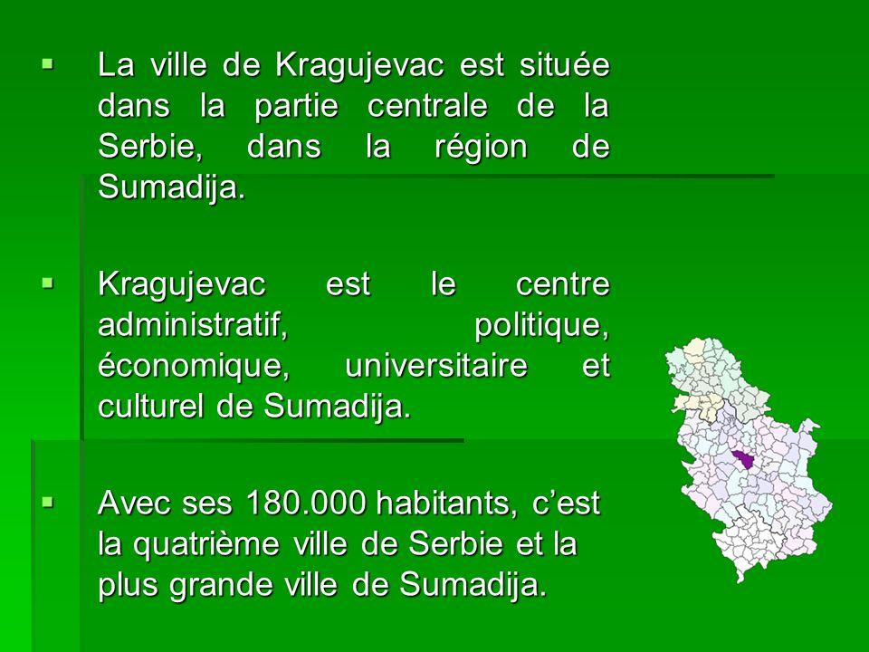 La ville de Kragujevac est située dans la partie centrale de la Serbie, dans la région de Sumadija. La ville de Kragujevac est située dans la partie c