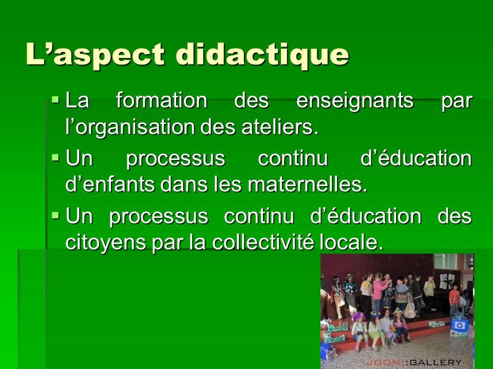 Laspect didactique La formation des enseignants par lorganisation des ateliers. La formation des enseignants par lorganisation des ateliers. Un proces