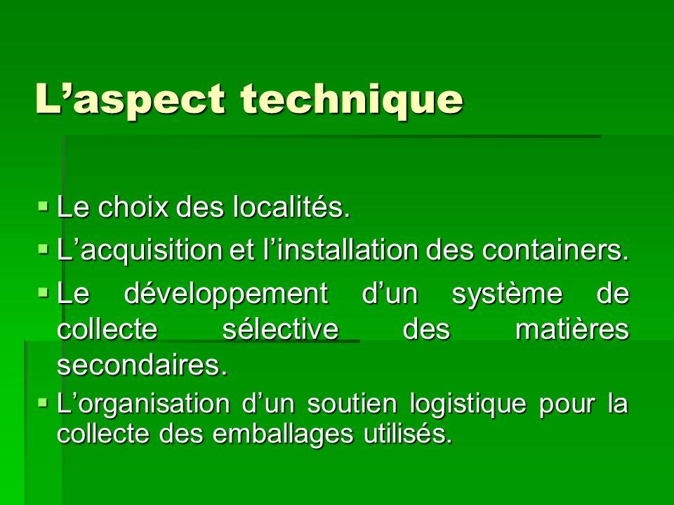 Laspect technique Le choix des localités. Le choix des localités. Lacquisition et linstallation des containers. Lacquisition et linstallation des cont