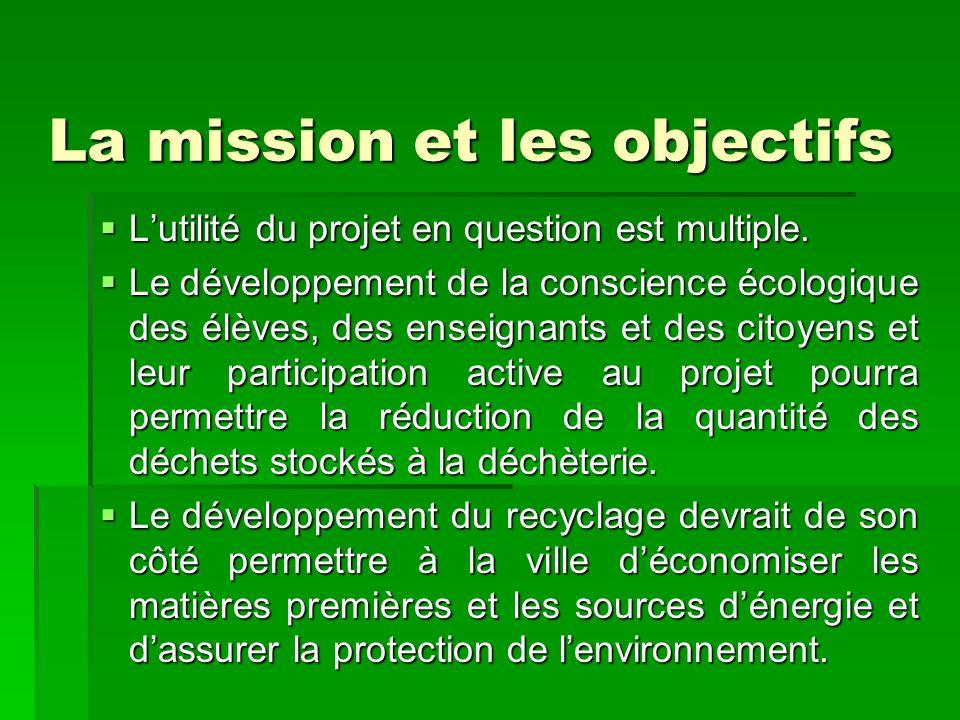 La mission et les objectifs Lutilité du projet en question est multiple. Lutilité du projet en question est multiple. Le développement de la conscienc
