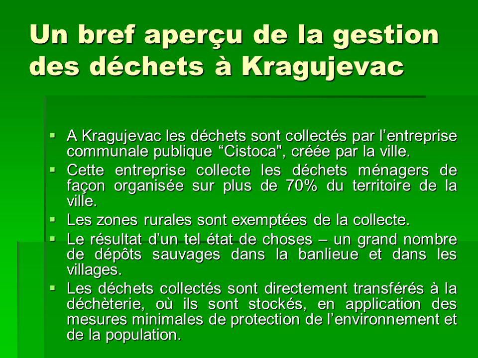 Un bref aperçu de la gestion des déchets à Kragujevac A Kragujevac les déchets sont collectés par lentreprise communale publique Cistoca