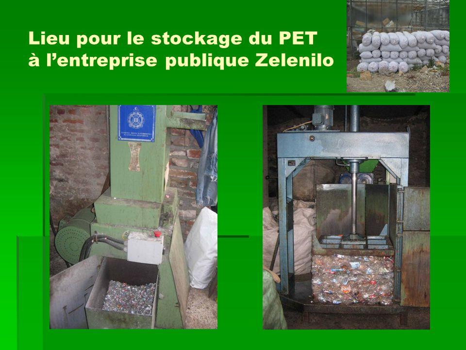 Lieu pour le stockage du PET à lentreprise publique Zelenilo