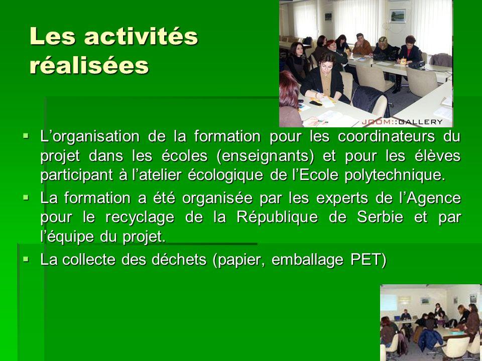 Les activités réalisées Lorganisation de la formation pour les coordinateurs du projet dans les écoles (enseignants) et pour les élèves participant à